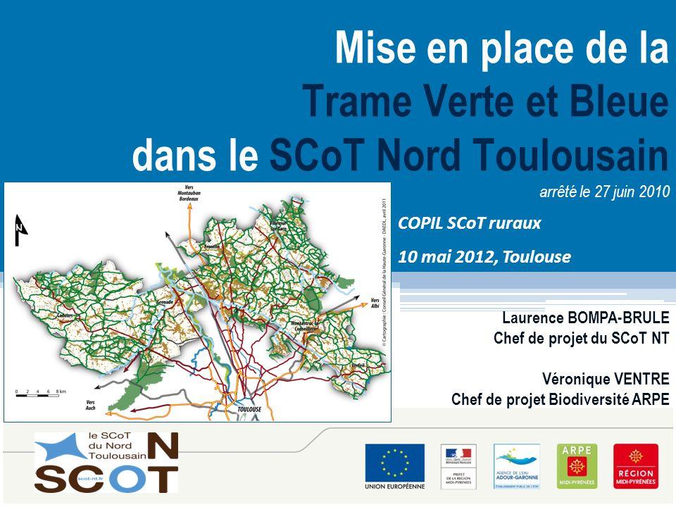 1 Mise en place de la Trame Verte et Bleue dans le SCoT Nord Toulousain arrêté le 27 juin 2010 Laurence BOMPA-BRULE Chef de projet du SCoT NT Véroniqu