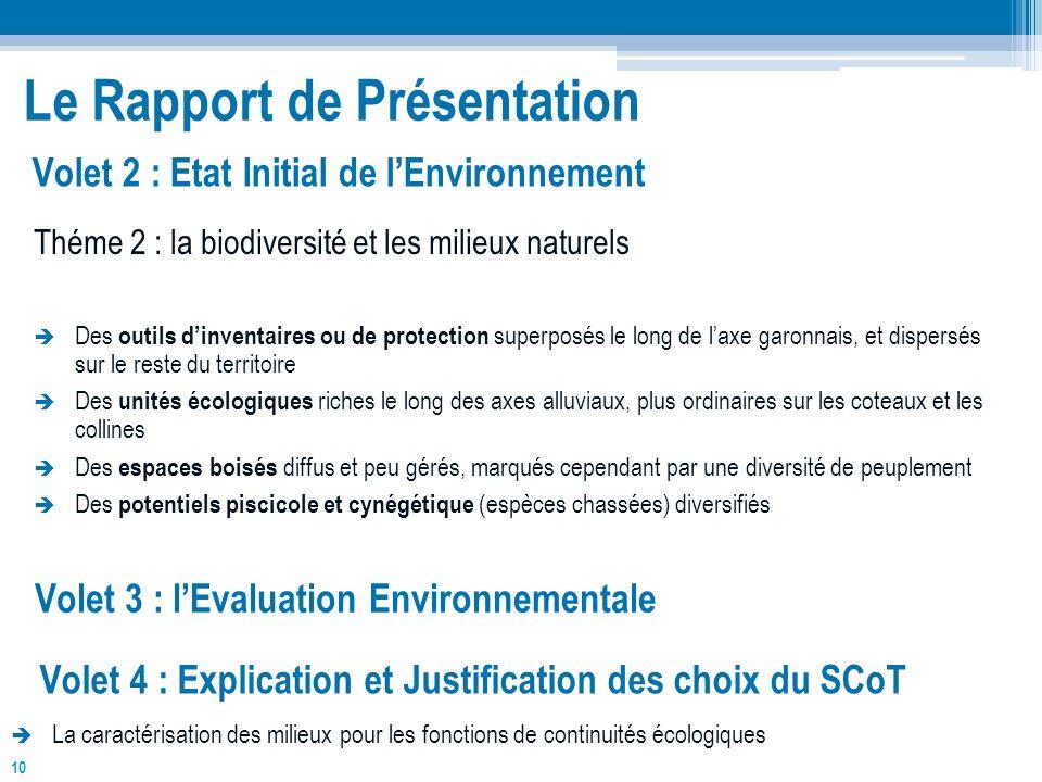 10 Le Rapport de Présentation Théme 2 : la biodiversité et les milieux naturels Des outils dinventaires ou de protection superposés le long de laxe ga