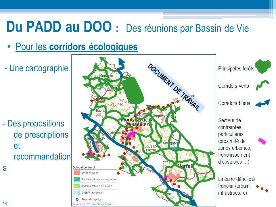 14 Du PADD au DOO : Des réunions par Bassin de Vie DOCUMENT DE TRAVAIL Principales forêts Corridors verts Corridors bleus Secteur de contraintes parti