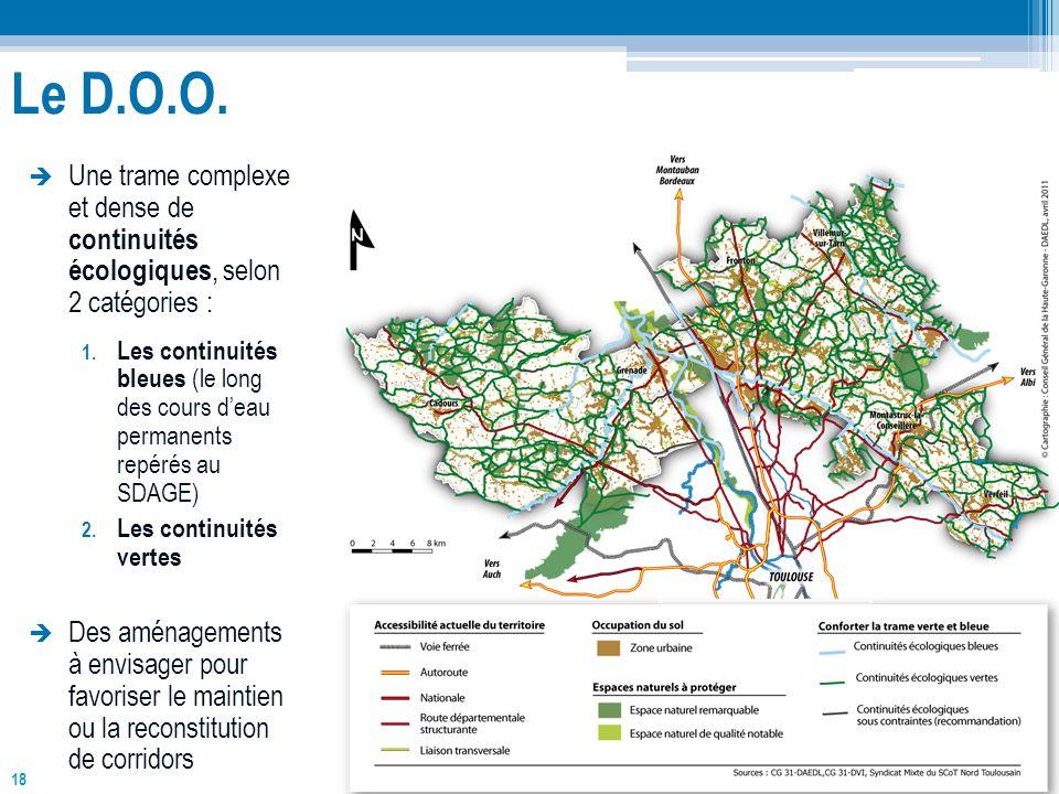 18 Une trame complexe et dense de continuités écologiques, selon 2 catégories : 1. Les continuités bleues (le long des cours deau permanents repérés a