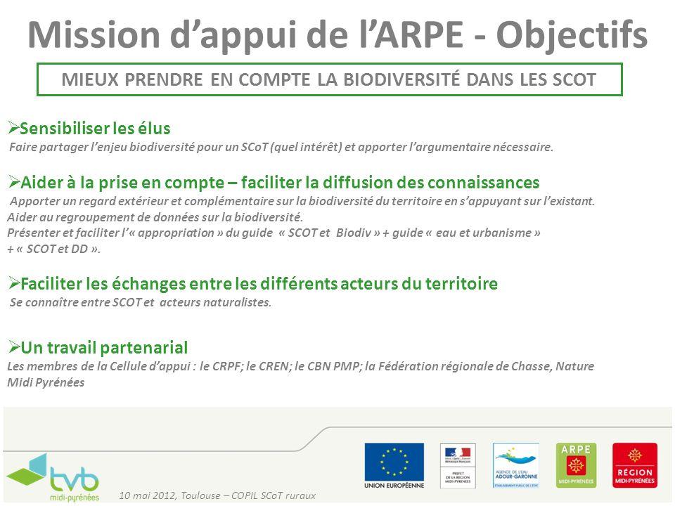 Mission dappui de lARPE - Objectifs MIEUX PRENDRE EN COMPTE LA BIODIVERSITÉ DANS LES SCOT Sensibiliser les élus Faire partager lenjeu biodiversité pou