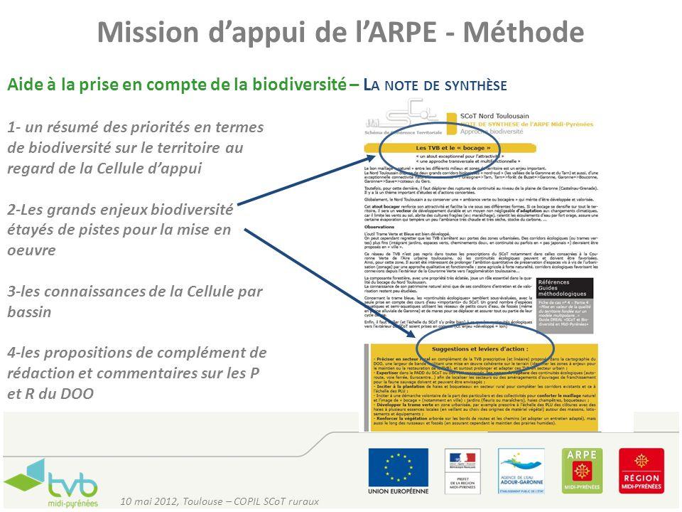 Mission dappui de lARPE - Méthode Aide à la prise en compte de la biodiversité – L A NOTE DE SYNTHÈSE 10 mai 2012, Toulouse – COPIL SCoT ruraux 1- un