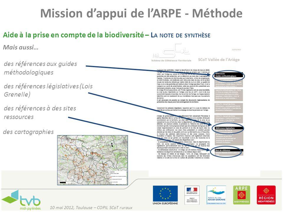 Mission dappui de lARPE - Méthode Aide à la prise en compte de la biodiversité – L A NOTE DE SYNTHÈSE Mais aussi… des références aux guides méthodolog