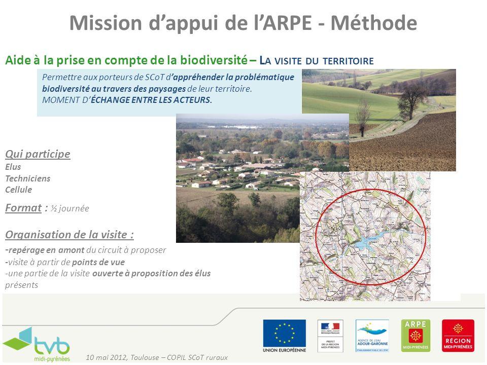Mission dappui de lARPE - Méthode Aide à la prise en compte de la biodiversité – L A VISITE DU TERRITOIRE Permettre aux porteurs de SCoT dappréhender
