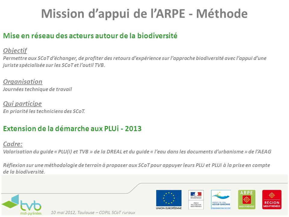 Mission dappui de lARPE - Méthode Mise en réseau des acteurs autour de la biodiversité Objectif Permettre aux SCoT déchanger, de profiter des retours