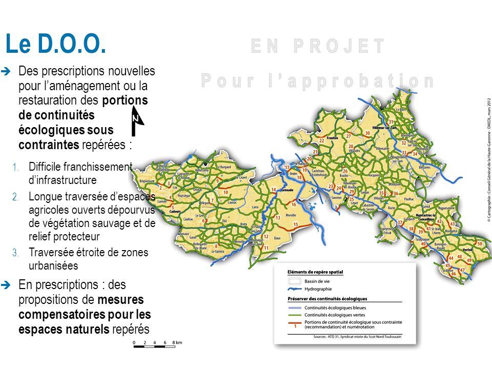 Le D.O.O. Des prescriptions nouvelles pour laménagement ou la restauration des portions de continuités écologiques sous contraintes repérées : 1. Diff