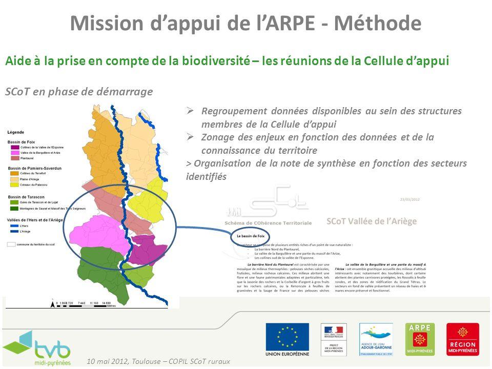 Mission dappui de lARPE - Méthode Aide à la prise en compte de la biodiversité – les réunions de la Cellule dappui SCoT en phase de démarrage Regroupe