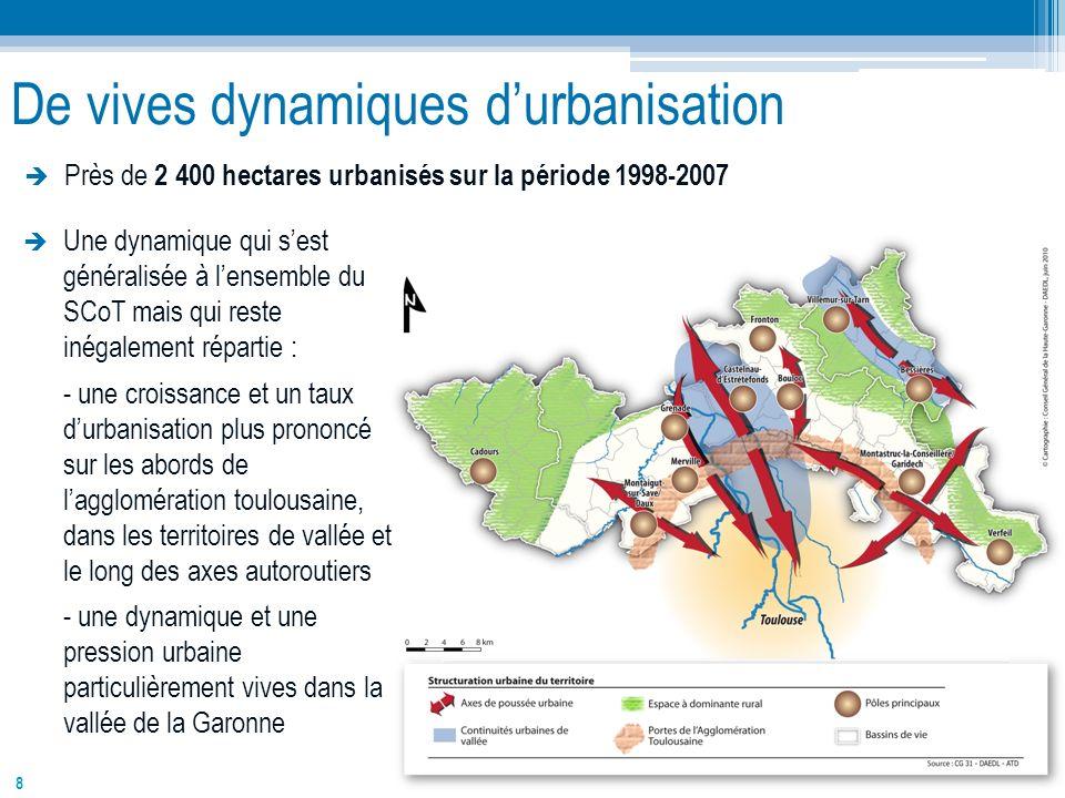 8 De vives dynamiques durbanisation Près de 2 400 hectares urbanisés sur la période 1998-2007 Une dynamique qui sest généralisée à lensemble du SCoT m