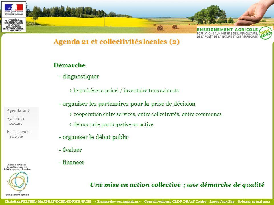 Christian PELTIER (MAAPRAT/DGER/SDPOFE/BVIE) – « En marche vers Agenda 21 » – Conseil régional, CRDP, DRAAF Centre – Lycée Jean Zay – Orléans, 12 mai 2011 Eléments bibliographiques