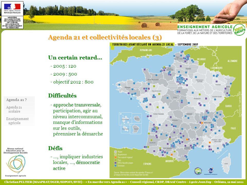 Christian PELTIER (MAAPRAT/DGER/SDPOFE/BVIE) – « En marche vers Agenda 21 » – Conseil régional, CRDP, DRAAF Centre – Lycée Jean Zay – Orléans, 12 mai 2011 QUELQUES ELEMENTS BIBLIOGRAPHIQUES (1) Généralités - Sommet Rio 1992 - Agenda 21 : www.un.org/esa/sustdev/documents/agenda21/french/action0.htm - MEEDDM - Projets territoriaux et Agenda 21 - cadre de référence, référentiel évaluation : www.ecologie.gouv.fr/IMG/pdf/a21112005version_francaise.pdf ; www.ecologie.gouv.fr/IMG/pdf/cdr_demarche_action_0107.pdf ; www.ecologie.gouv.fr/IMG/pdf/referentiel- final-8-juin.pdf - COMITE 21 – portail Agenda 21 territoriaux et scolaires ; notamment Guide Agenda 21 scolaire ; http://www.comite21.org/docs/presse/communiqueagenda-21-scolairescomite21-702.pdf - SNDD 2010-2013 Collectivités territoriales - Nantes Métropole – Agenda 21 : www.nantesmetropole.fr/1141145006744/0/fiche___document/ Établissements de formation - Angers – Agenda 21 scolaire : www.angers.fr/angers-21/developpement-durable/pour-sinformer/guide- methodologique-agenda-21-scolaire/index.html - CU Bordeaux – Agenda 21 scolaire : http://pedagogie.durable.lacub.fr/fr/les-actions/agenda-21-scolaire.html - Lycée Jules Rieffel Saint-Herblain (44) - http://www.julesrieffel.educagri.fr/agenda/agenda21/index.php?num_menu_1=3 [la démarche, actions] - http://mhea1.educagri.fr/virtual/www.sillage.educagri.fr/htdocs/agri-durable/rieffel2.php [les outils]