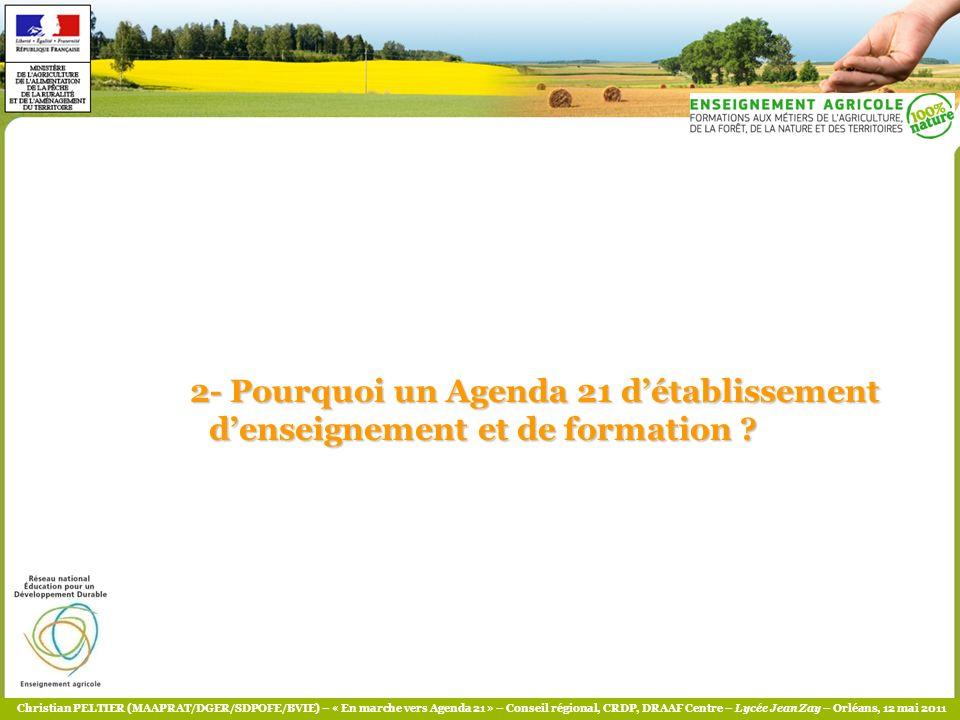 Christian PELTIER (MAAPRAT/DGER/SDPOFE/BVIE) – « En marche vers Agenda 21 » – Conseil régional, CRDP, DRAAF Centre – Lycée Jean Zay – Orléans, 12 mai 2011 Pourquoi sengager .