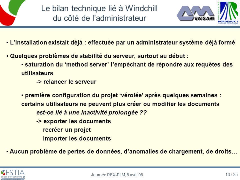 13 / 25 Journée REX-PLM, 6 avril 06 Le bilan technique lié à Windchill du côté de ladministrateur Linstallation existait déjà : effectuée par un admin