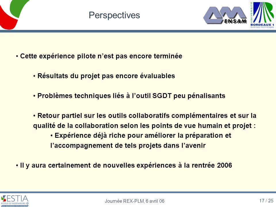 17 / 25 Journée REX-PLM, 6 avril 06 Perspectives Cette expérience pilote nest pas encore terminée Résultats du projet pas encore évaluables Problèmes