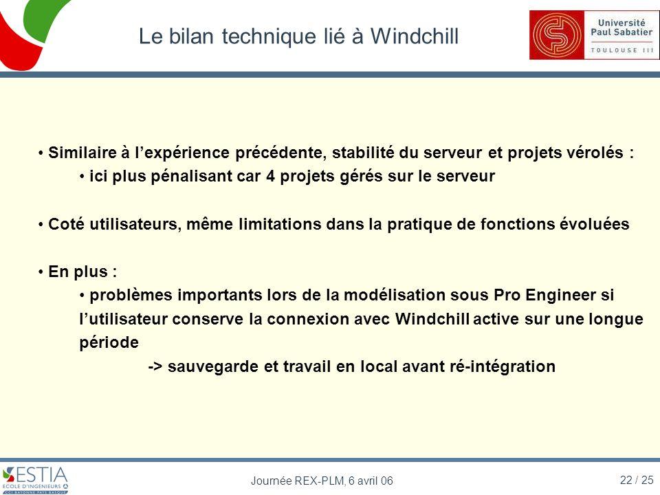 22 / 25 Journée REX-PLM, 6 avril 06 Le bilan technique lié à Windchill Similaire à lexpérience précédente, stabilité du serveur et projets vérolés : i