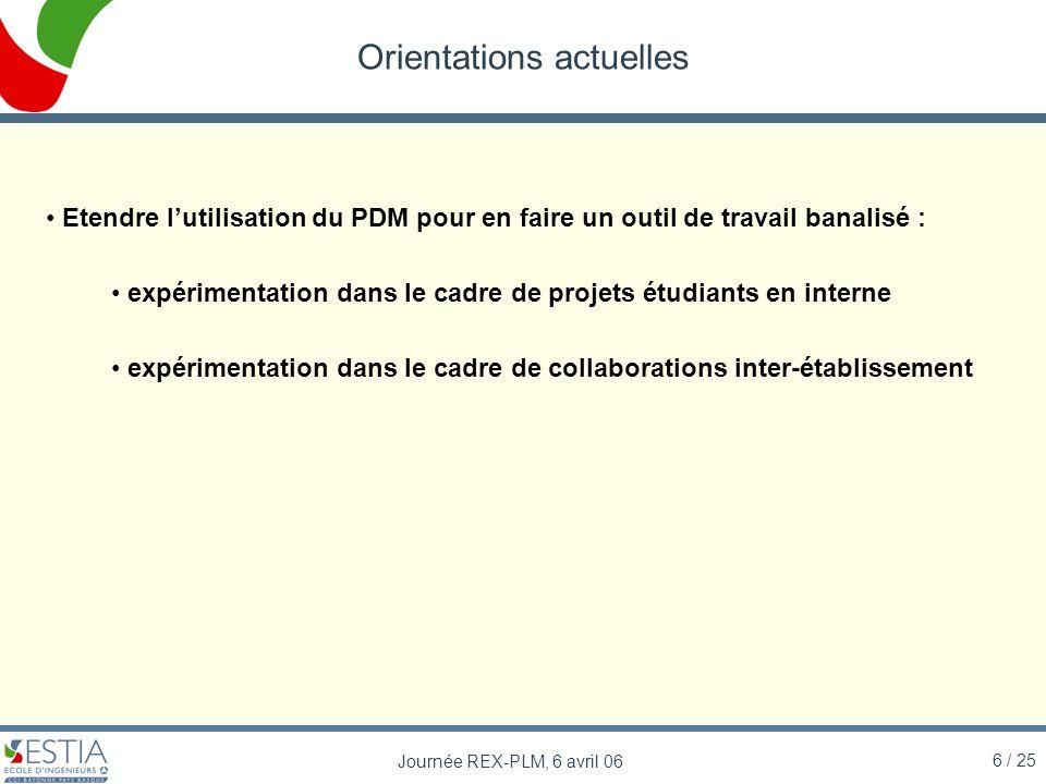 6 / 25 Journée REX-PLM, 6 avril 06 Orientations actuelles Etendre lutilisation du PDM pour en faire un outil de travail banalisé : expérimentation dan