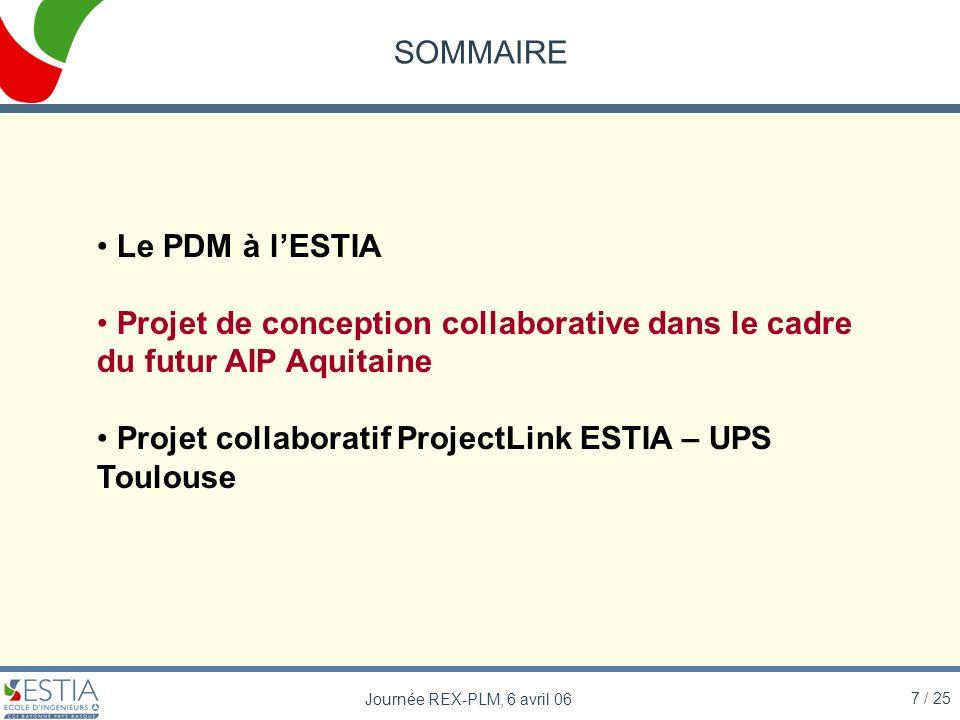 7 / 25 Journée REX-PLM, 6 avril 06 SOMMAIRE Le PDM à lESTIA Projet de conception collaborative dans le cadre du futur AIP Aquitaine Projet collaborati