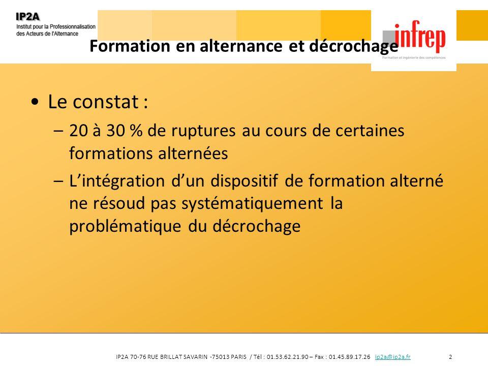IP2A 70-76 RUE BRILLAT SAVARIN -75013 PARIS / Tél : 01.53.62.21.90 – Fax : 01.45.89.17.26 ip2a@ip2a.fr 2ip2a@ip2a.fr Formation en alternance et décroc