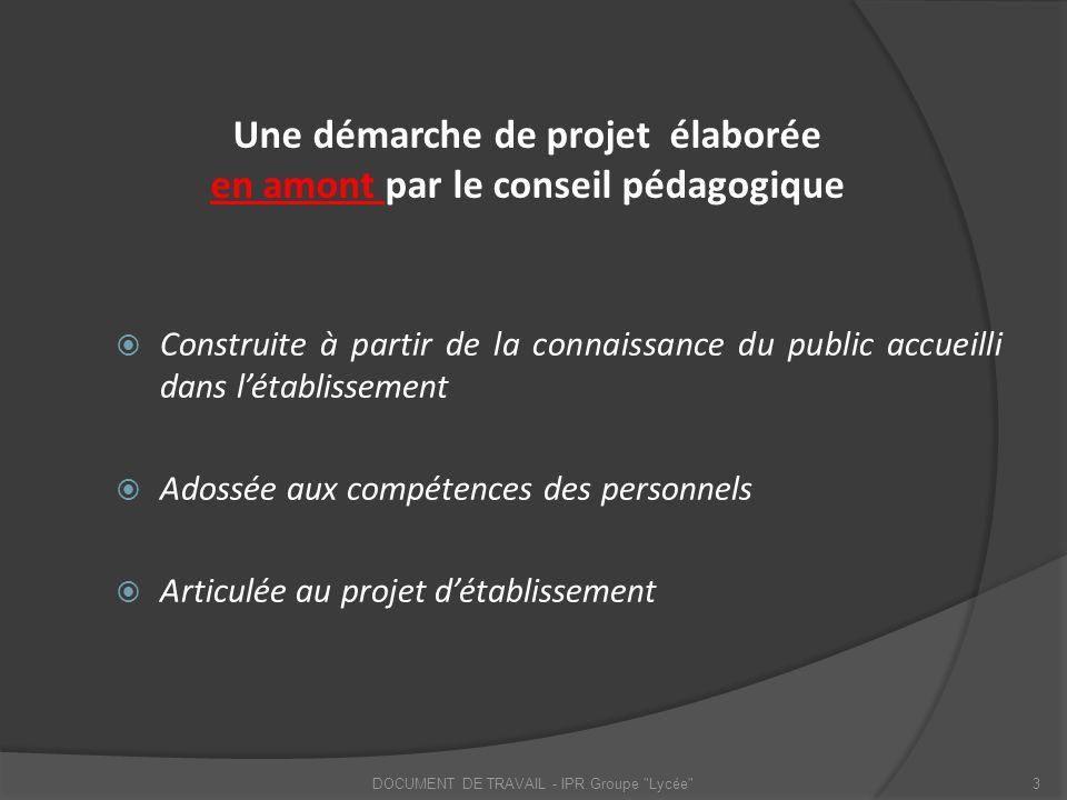 Une démarche de projet élaborée en amont par le conseil pédagogique Construite à partir de la connaissance du public accueilli dans létablissement Ado