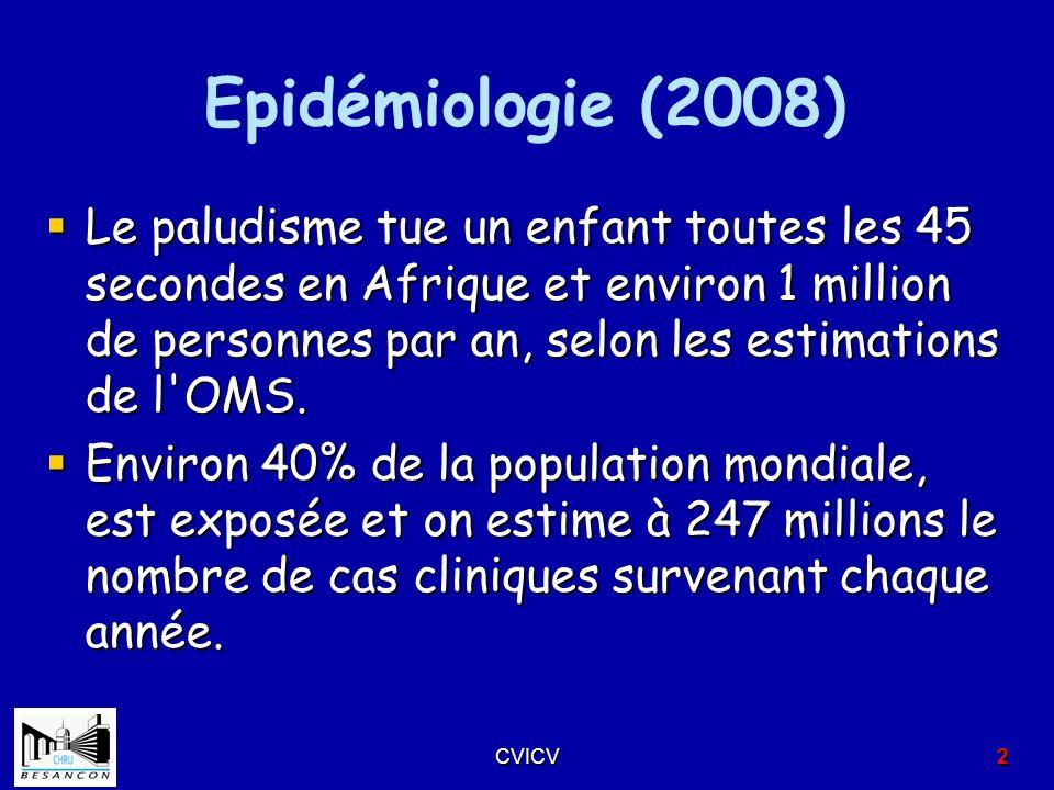 Epidémiologie (2008) Le paludisme tue un enfant toutes les 45 secondes en Afrique et environ 1 million de personnes par an, selon les estimations de l