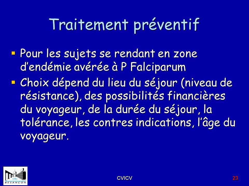 Traitement préventif Pour les sujets se rendant en zone dendémie avérée à P Falciparum Pour les sujets se rendant en zone dendémie avérée à P Falcipar