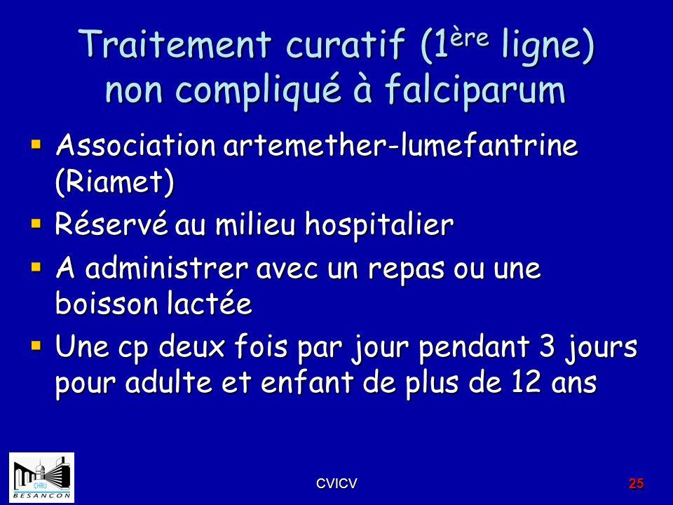 Traitement curatif (1 ère ligne) non compliqué à falciparum Association artemether-lumefantrine (Riamet) Association artemether-lumefantrine (Riamet)