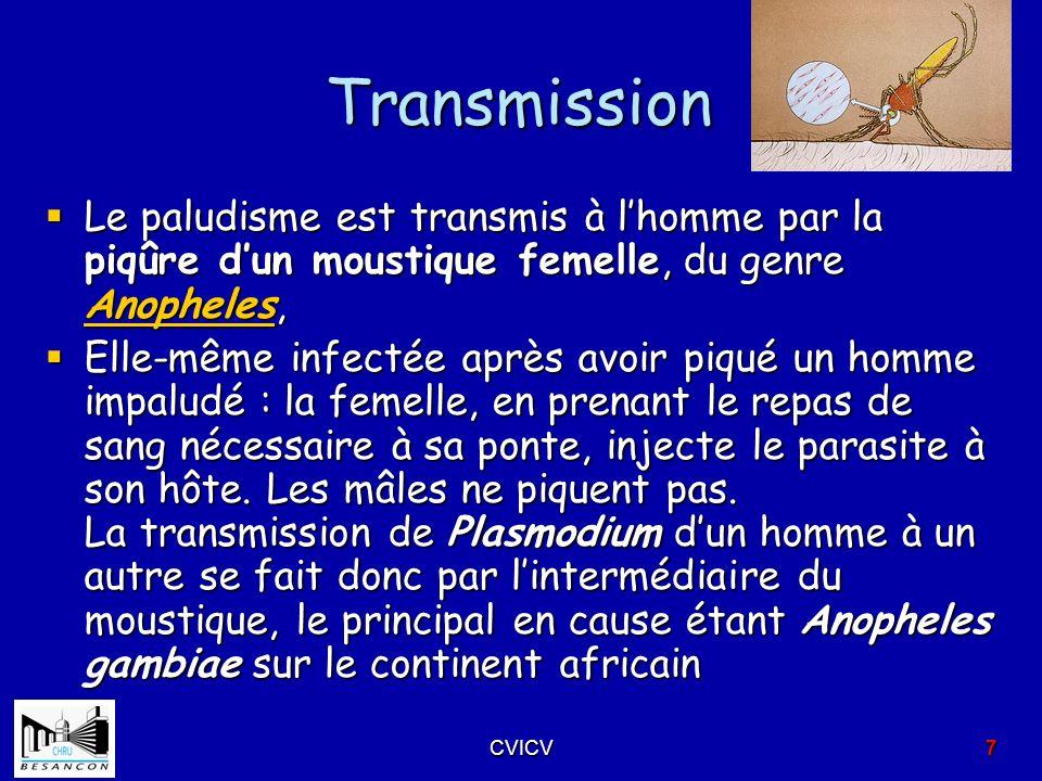 Transmission Le paludisme est transmis à lhomme par la piqûre dun moustique femelle, du genre Anopheles, Le paludisme est transmis à lhomme par la piq
