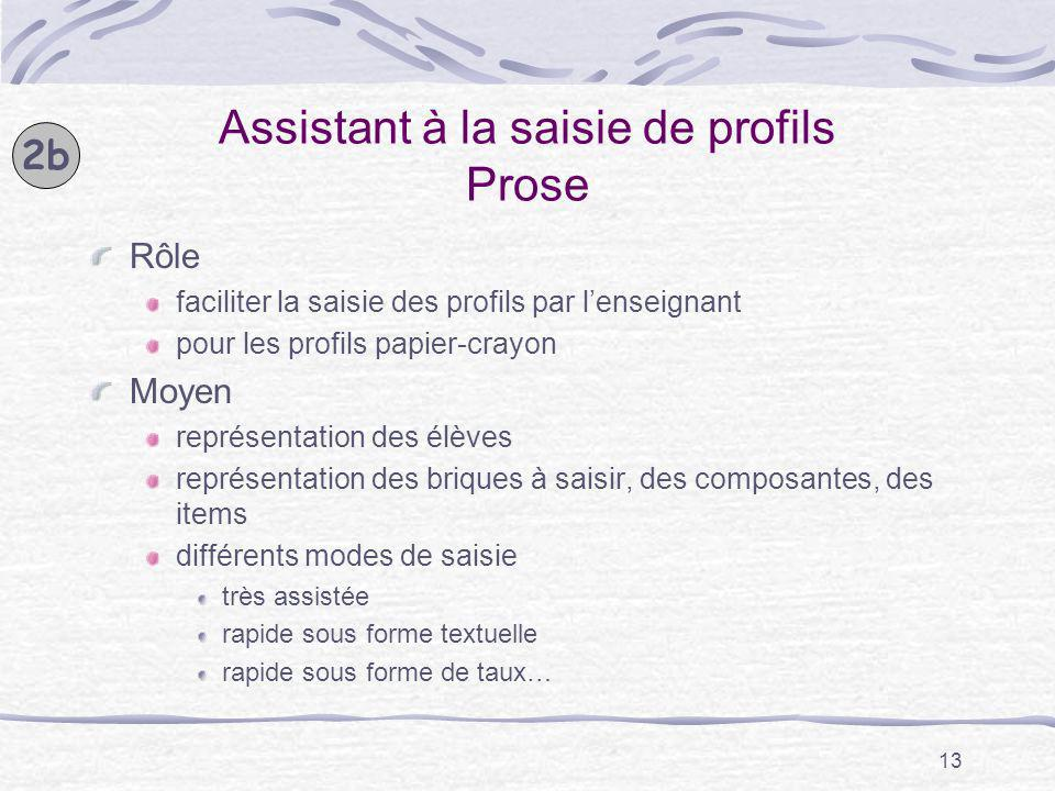 13 Assistant à la saisie de profils Prose Rôle faciliter la saisie des profils par lenseignant pour les profils papier-crayon Moyen représentation des