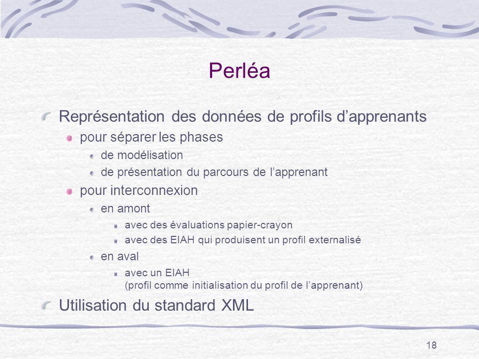 18 Perléa Représentation des données de profils dapprenants pour séparer les phases de modélisation de présentation du parcours de lapprenant pour int