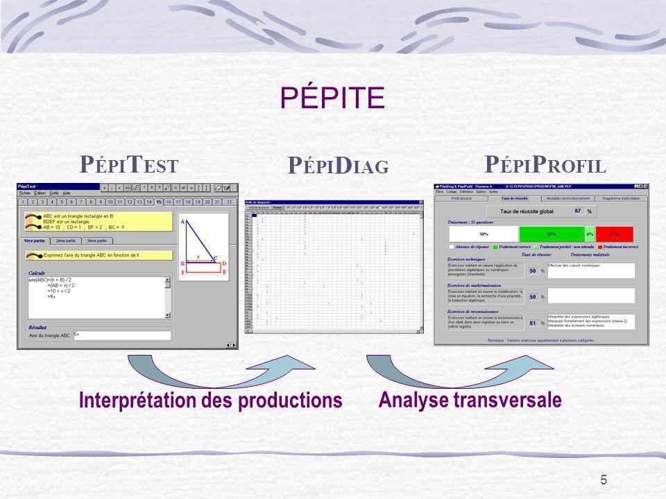 5 PÉPITE P ÉPI T EST P ÉPI P ROFIL Analyse transversale P ÉPI D IAG Interprétation des productions