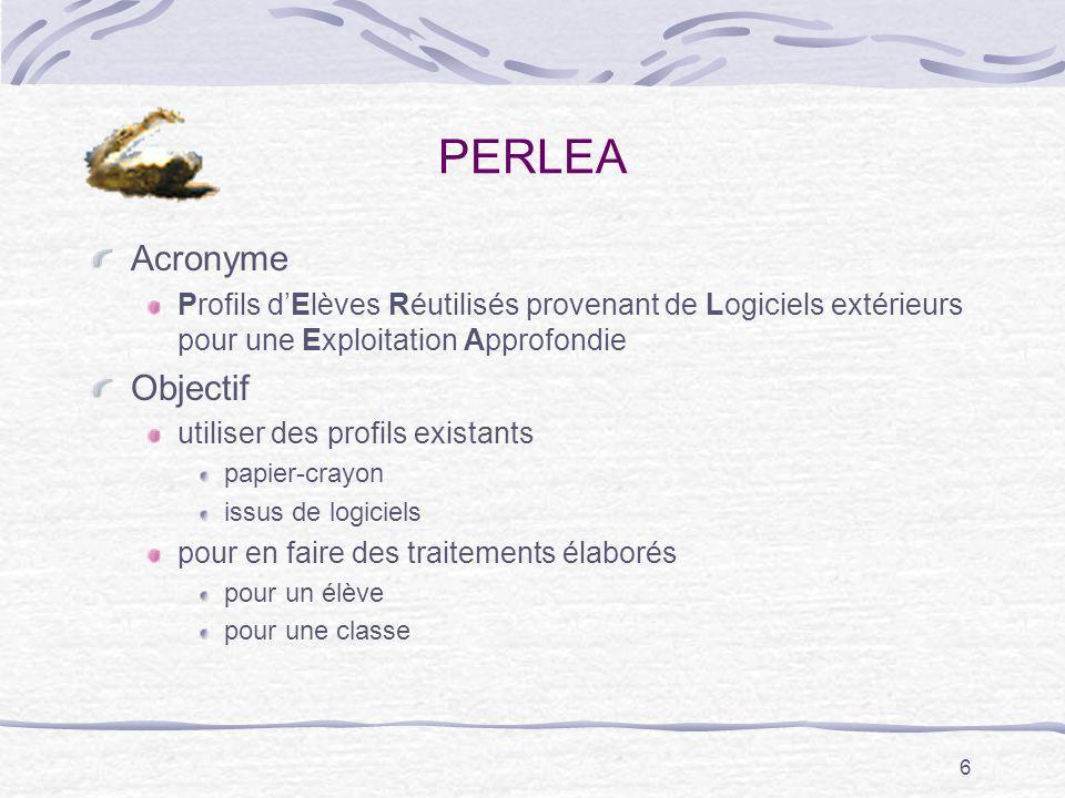 6 PERLEA Acronyme Profils dElèves Réutilisés provenant de Logiciels extérieurs pour une Exploitation Approfondie Objectif utiliser des profils existan