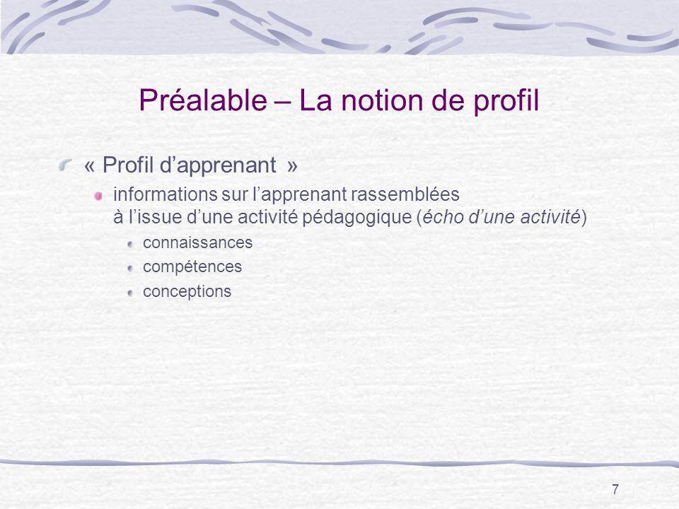 7 Préalable – La notion de profil « Profil dapprenant » informations sur lapprenant rassemblées à lissue dune activité pédagogique (écho dune activité