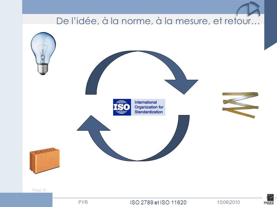 Page 10 ISO 2789 et ISO 11620 PYR15 06 2010 De lidée, à la norme, à la mesure, et retour…