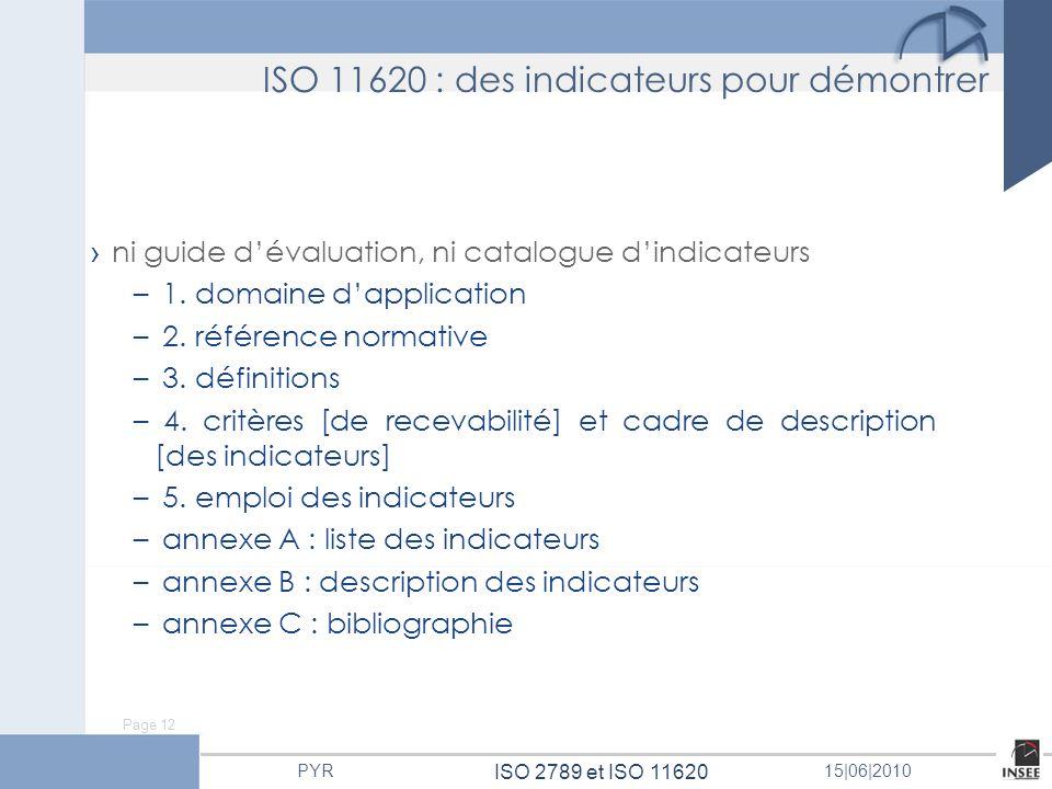 Page 12 ISO 2789 et ISO 11620 PYR15 06 2010 ISO 11620 : des indicateurs pour démontrer ni guide dévaluation, ni catalogue dindicateurs – 1. domaine da