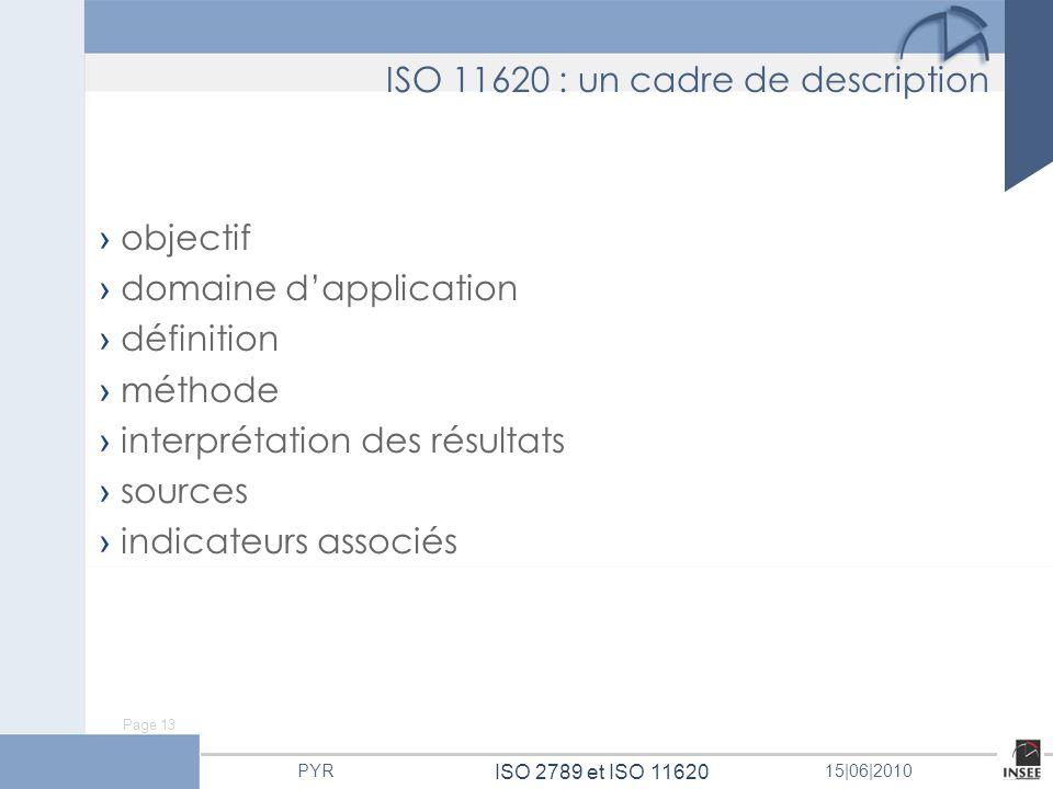 Page 13 ISO 2789 et ISO 11620 PYR15 06 2010 ISO 11620 : un cadre de description objectif domaine dapplication définition méthode interprétation des ré