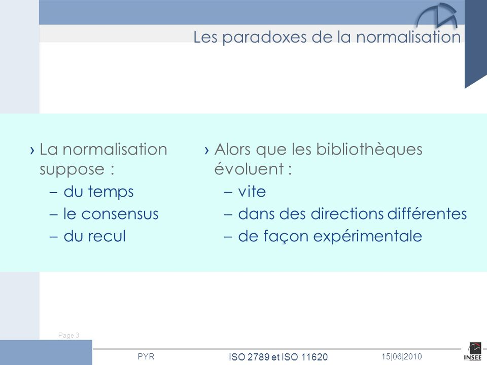 Page 3 ISO 2789 et ISO 11620 PYR15 06 2010 La normalisation suppose : – du temps – le consensus – du recul Alors que les bibliothèques évoluent : – vi