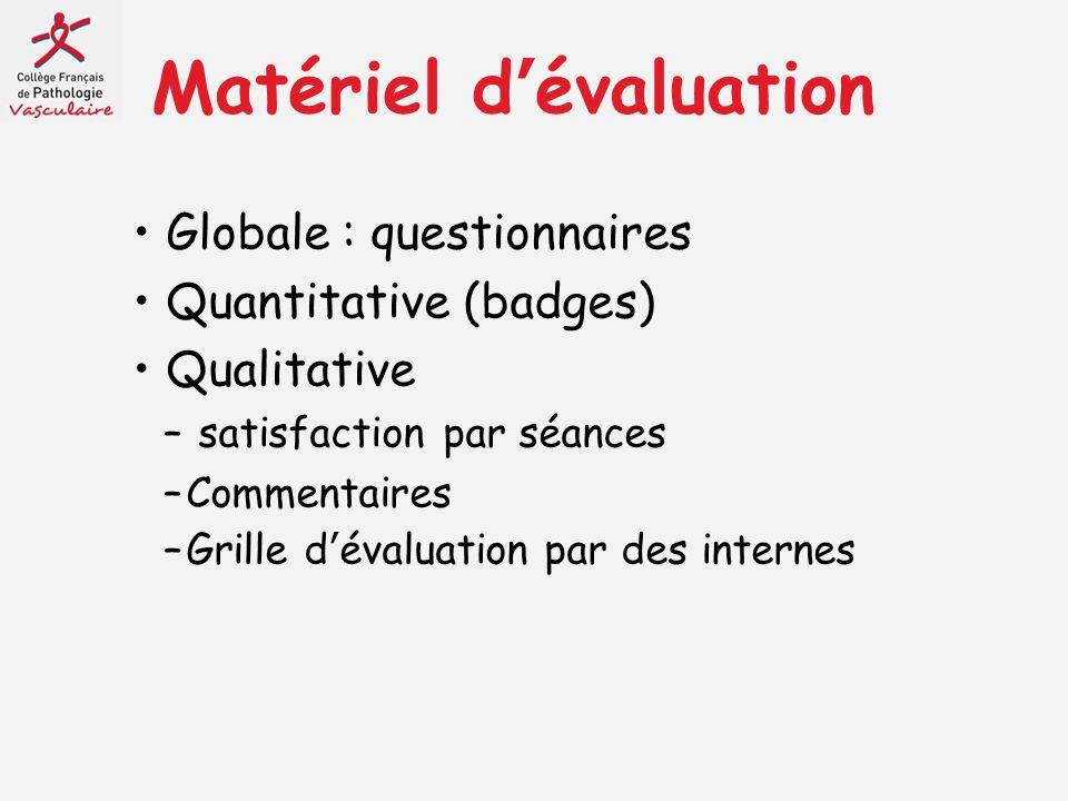 Matériel dévaluation Globale : questionnaires Quantitative (badges) Qualitative – satisfaction par séances –Commentaires –Grille dévaluation par des i