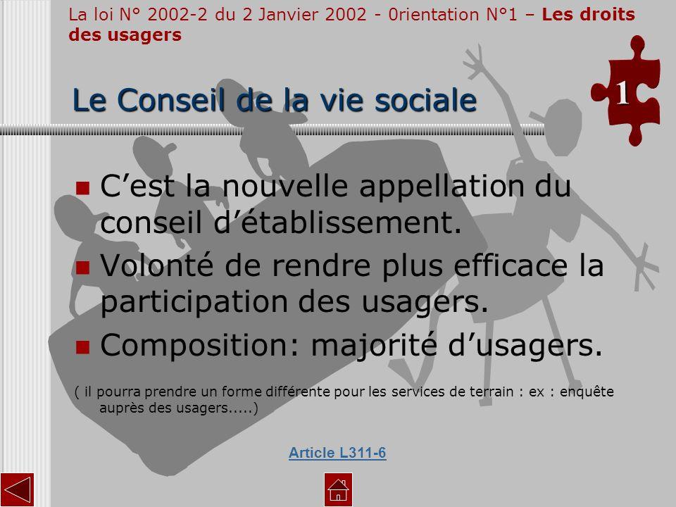 Cest la nouvelle appellation du conseil détablissement. Volonté de rendre plus efficace la participation des usagers. Composition: majorité dusagers.