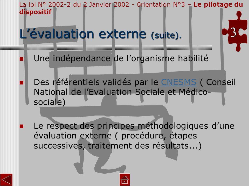 Lévaluation externe (suite). Une indépendance de lorganisme habilité Des référentiels validés par le CNESMS ( Conseil National de lEvaluation Sociale