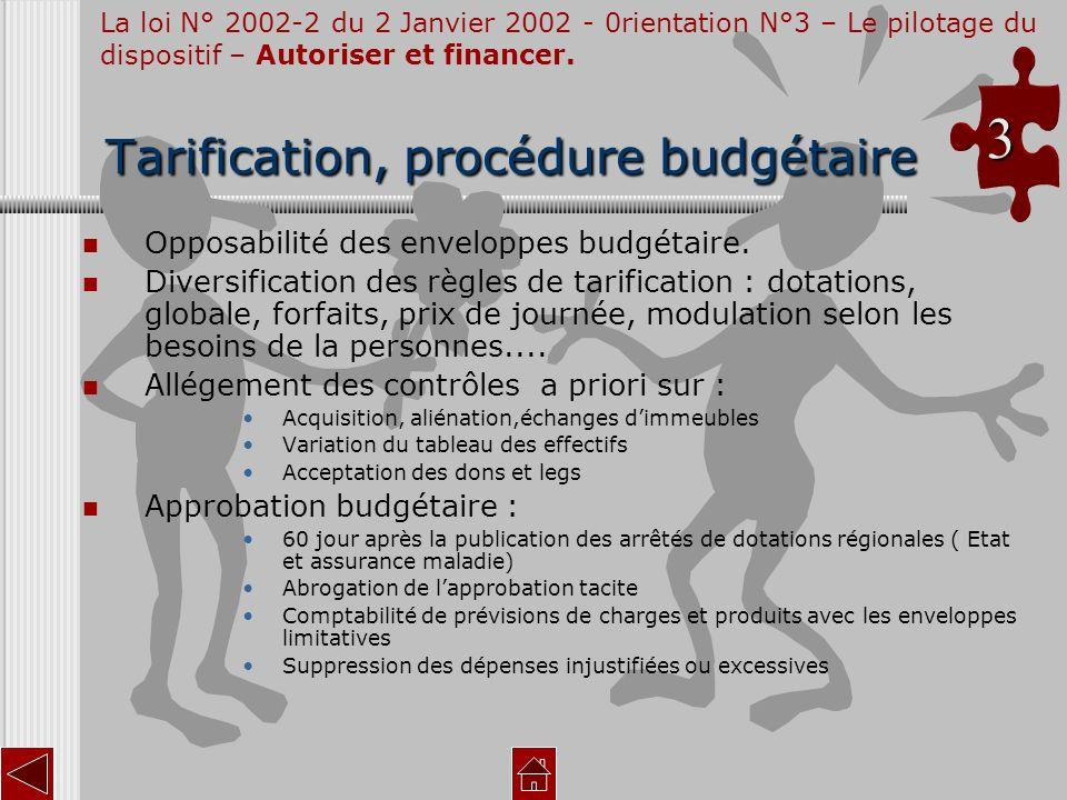 T TT Tarification, procédure budgétaire Opposabilité des enveloppes budgétaire. Diversification des règles de tarification : dotations, globale, forfa