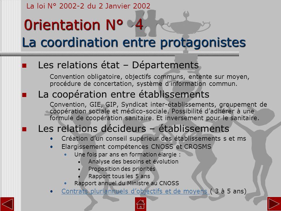 La coordination entre protagonistes Les relations état – Départements Convention obligatoire, objectifs communs, entente sur moyen, procédure de conce