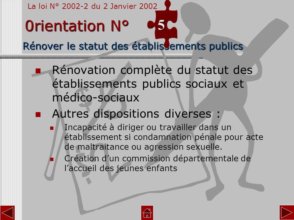 Rénover le statut des établissements publics Rénovation complète du statut des établissements publics sociaux et médico-sociaux Autres dispositions di