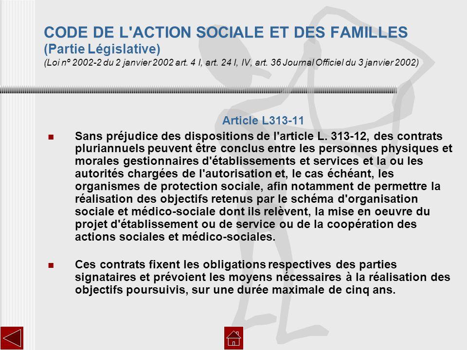 CODE DE L'ACTION SOCIALE ET DES FAMILLES (Partie Législative) (Loi nº 2002-2 du 2 janvier 2002 art. 4 I, art. 24 I, IV, art. 36 Journal Officiel du 3