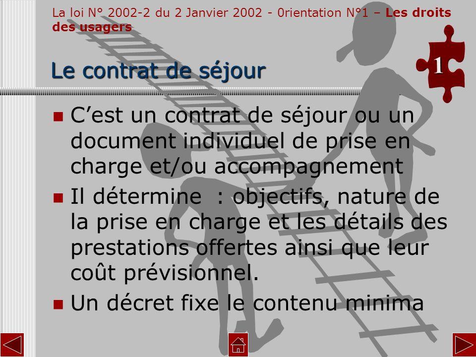 Cest un contrat de séjour ou un document individuel de prise en charge et/ou accompagnement Il détermine : objectifs, nature de la prise en charge et