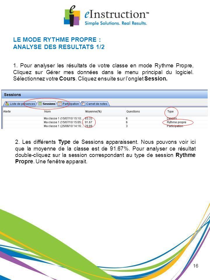 16 LE MODE RYTHME PROPRE : ANALYSE DES RESULTATS 1/2 1. Pour analyser les résultats de votre classe en mode Rythme Propre, Cliquez sur Gérer mes donné