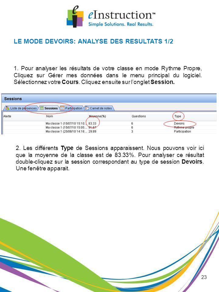 23 LE MODE DEVOIRS: ANALYSE DES RESULTATS 1/2 1. Pour analyser les résultats de votre classe en mode Rythme Propre, Cliquez sur Gérer mes données dans