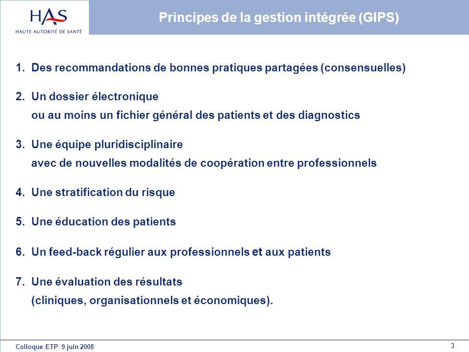 Principes de la gestion intégrée (GIPS) 1.Des recommandations de bonnes pratiques partagées (consensuelles) 2.Un dossier électronique ou au moins un f