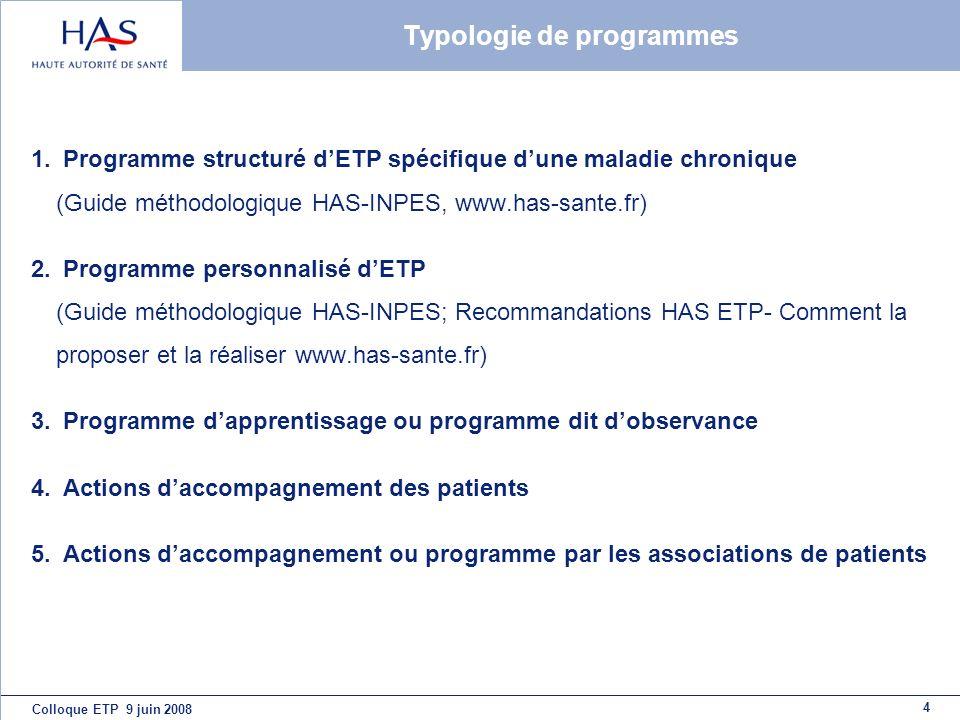 4 Typologie de programmes 1. Programme structuré dETP spécifique dune maladie chronique (Guide méthodologique HAS-INPES, www.has-sante.fr) 2. Programm