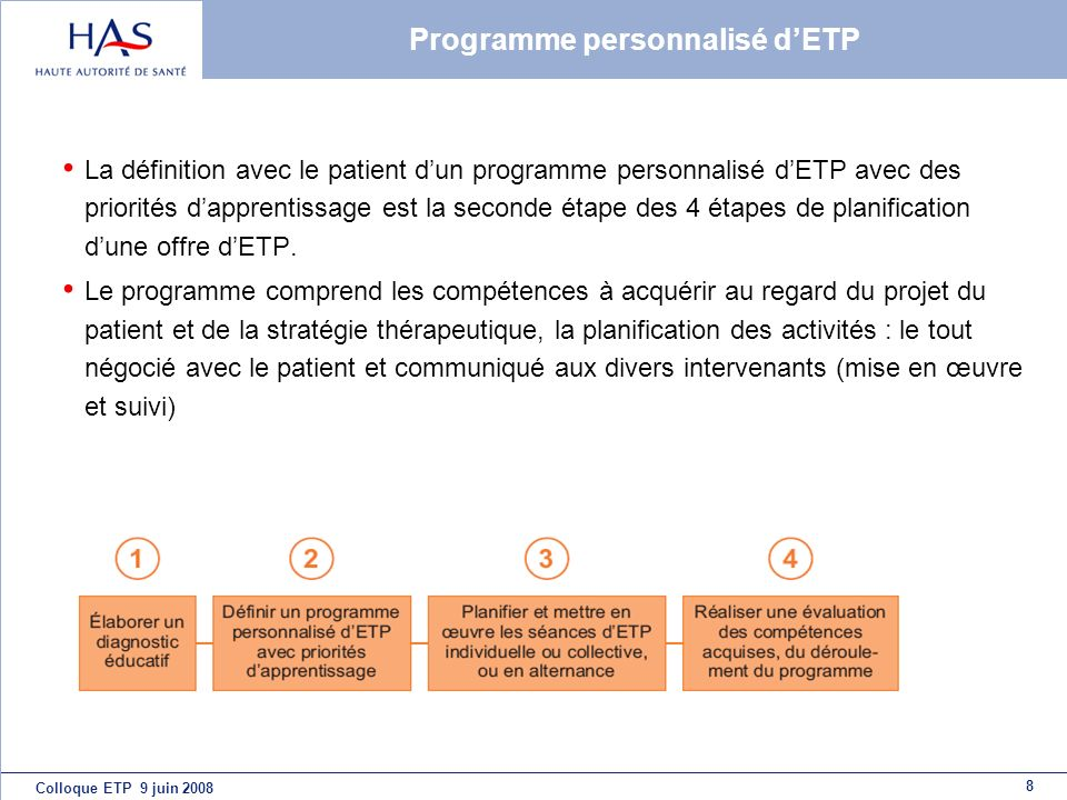 8 Colloque ETP 9 juin 2008 Programme personnalisé dETP La définition avec le patient dun programme personnalisé dETP avec des priorités dapprentissage