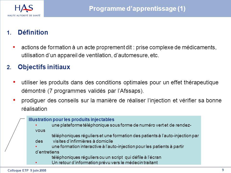 9 Colloque ETP 9 juin 2008 Programme dapprentissage (1) 1. Définition actions de formation à un acte proprement dit : prise complexe de médicaments, u