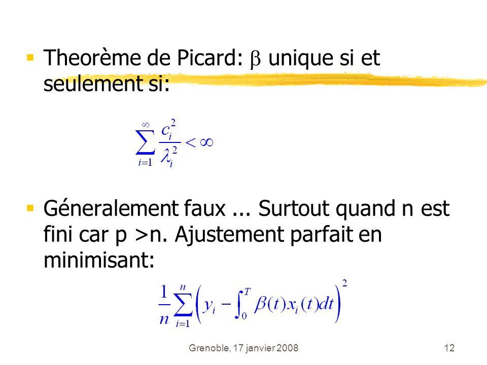 Grenoble, 17 janvier 200812 Theorème de Picard: unique si et seulement si: Géneralement faux... Surtout quand n est fini car p >n. Ajustement parfait